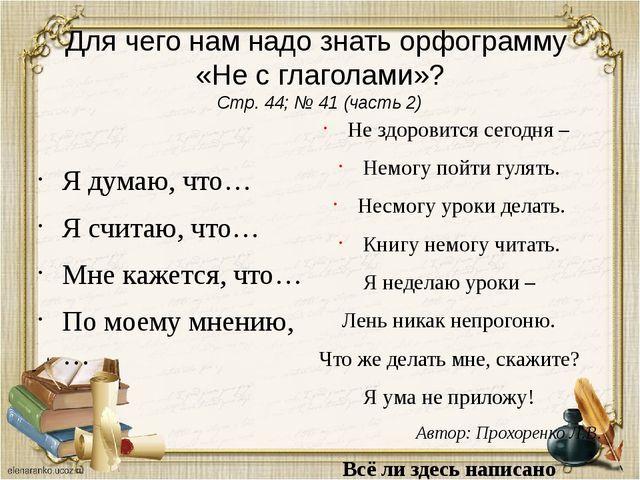 Для чего нам надо знать орфограмму «Не с глаголами»? Стр. 44; № 41 (часть 2)...