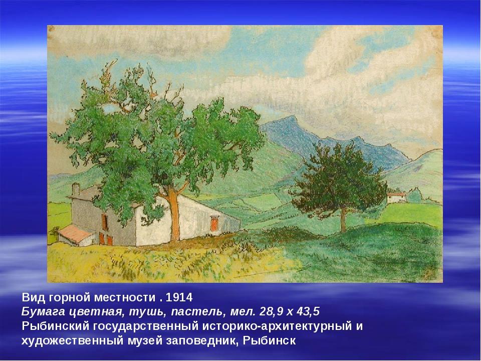 Вид горной местности . 1914 Бумага цветная, тушь, пастель, мел. 28,9 x 43,5 Р...