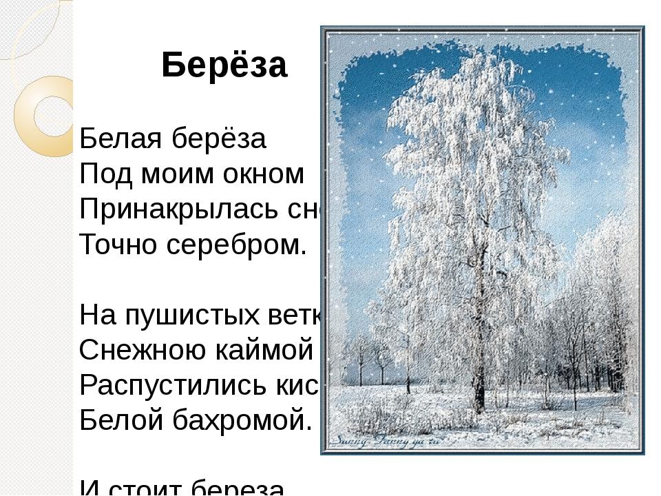 Берёза Белая берёза Под моим окном Принакрылась снегом, Точно серебром. На п...