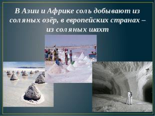 В Азии и Африке соль добывают из соляных озёр, в европейских странах – из сол