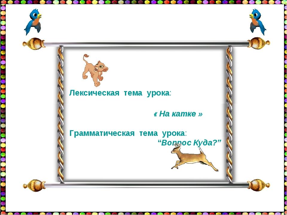 """Лексическая тема урока: « На катке » Грамматическая тема урока: """"Вопрос Куда?"""""""