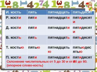 Склонение числительных от 5 до 30 и от 50 до 80. (опорное слово-кость) Склон