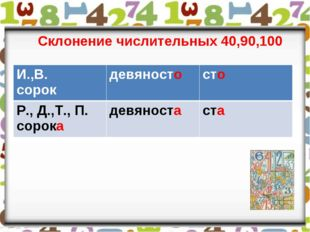 Склонение числительных 40,90,100 И.,В. сорокдевяносто сто Р., Д.,Т., П. сор