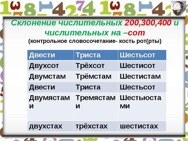 Склонение числительных 200,300,400 и числительных на –сот (контрольное словос...