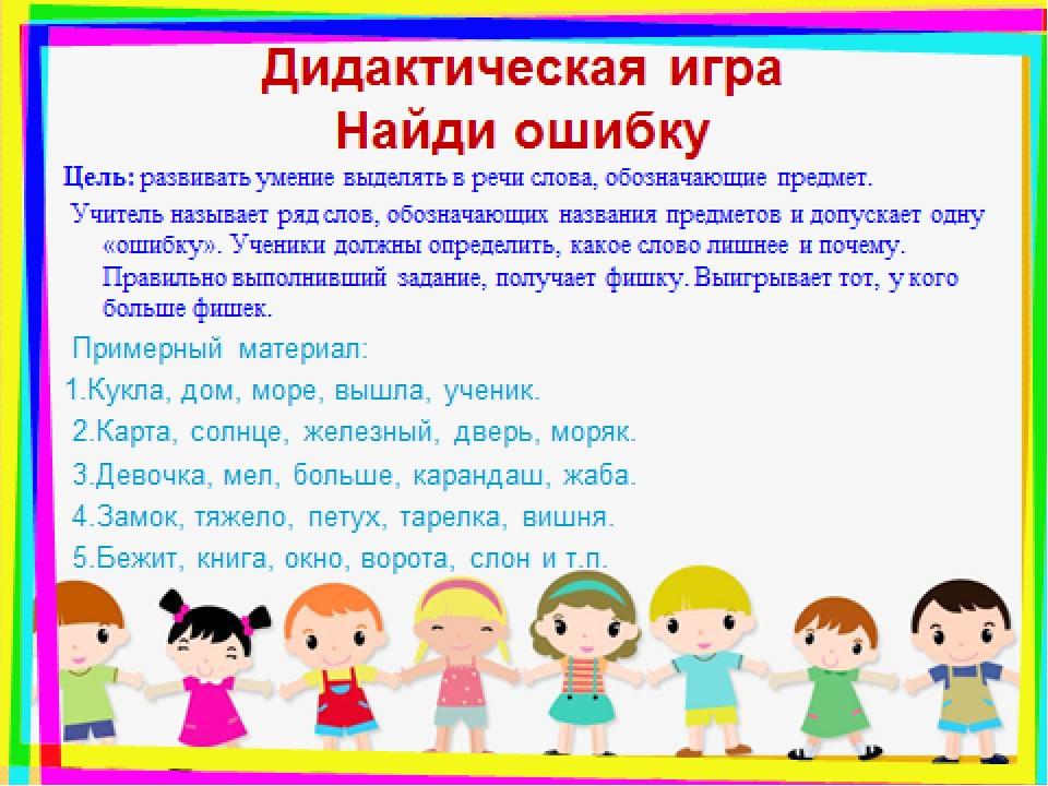Дидактическая игра Найди ошибку Цель: развивать умение выделять в речи слова,...