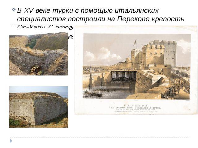 ВXV векетурки с помощью итальянских специалистов построили наПерекопекреп...