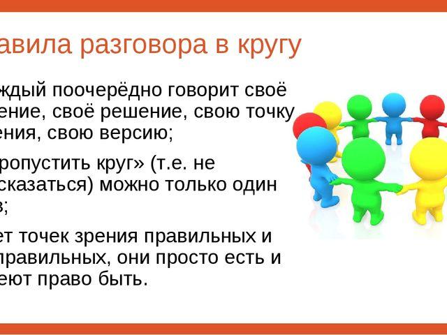 Правила разговора в кругу каждый поочерёдно говорит своё мнение, своё решение...
