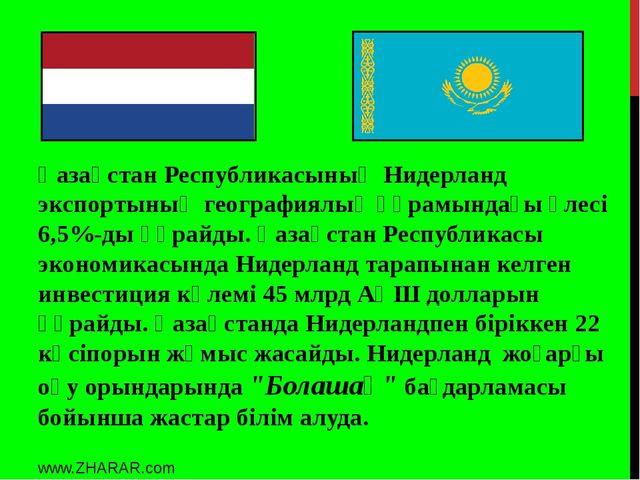 Қазақстан Республикасының Нидерланд экспортының географиялық құрамындағы үлес...