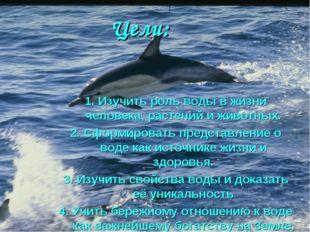 Цели: 1. Изучить роль воды в жизни человека, растений и животных. 2. Сформиро