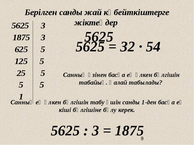 Берілген санды жай көбейткіштерге жіктеңдер 5625 5625 = З2 ∙ 54 Санның өзіне...