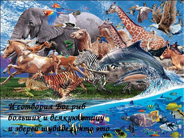 И сотворил Бог рыб больших и всякую птицу и зверей и увидел, что это хорошо.