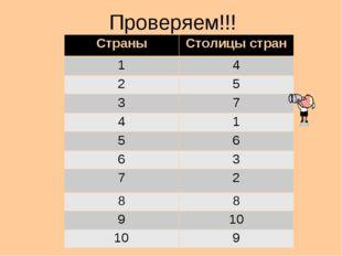 Проверяем!!! Страны Столицы стран 1 4 2 5 3 7 4 1 5 6 6 3 7 2 8 8 9