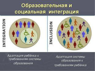 Образовательная и социальная интеграция Адаптация системы образования к требо