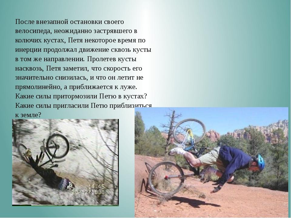 После внезапной остановки своего велосипеда, неожиданно застрявшего в колюч...