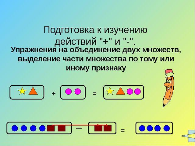 """Подготовка к изучению действий """"+"""" и """"-"""". Упражнения на объединение двух множ..."""