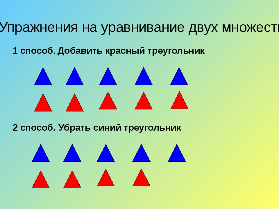 Упражнения на уравнивание двух множеств 2 способ. Убрать синий треугольник 1...