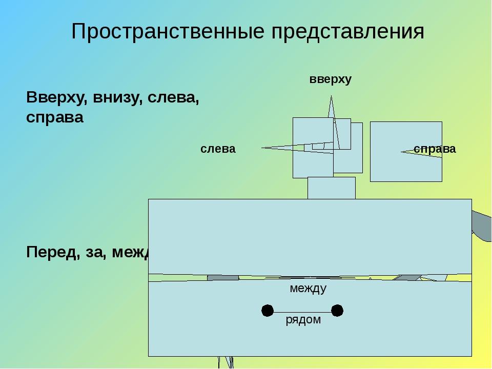 Пространственные представления Вверху, внизу, слева, справа Перед, за, между,...