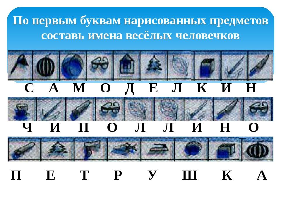 По первым буквам нарисованных предметов составь имена весёлых человечков С А...