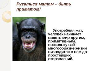 Ругаться матом – быть приматом! Употребляя мат, человек начинает видеть мир