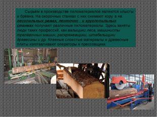 Сырьём в производстве пиломатериалов являются хлысты и брёвна. На окорочных