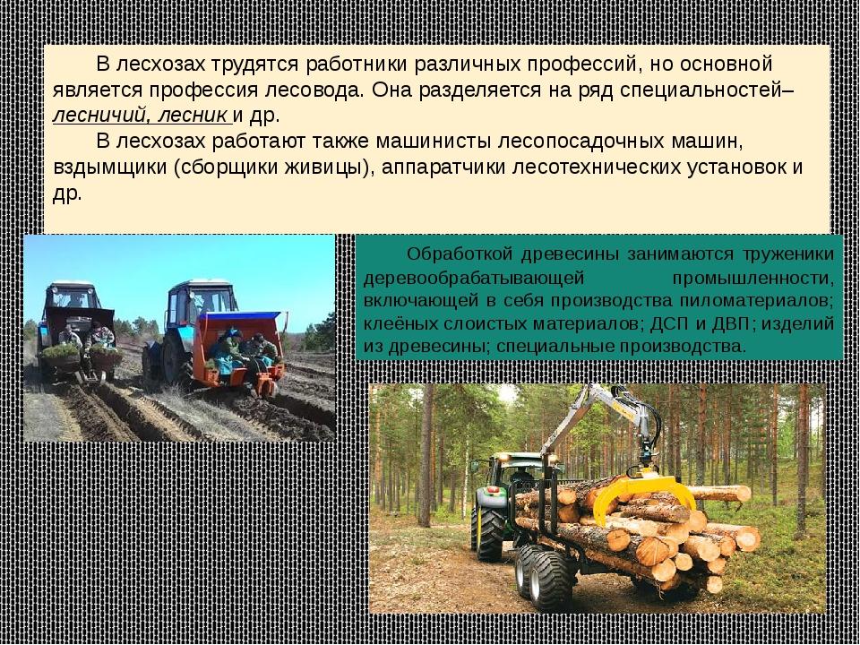 В лесхозах трудятся работники различных профессий, но основной является проф...