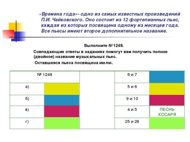«Времена года»- одно из самых известных произведений П.И. Чайковского. Оно с...