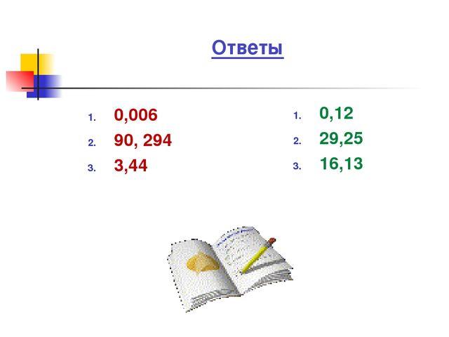 Ответы 0,006 90, 294 3,44 0,12 29,25 16,13