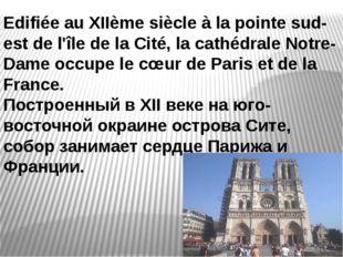 Edifiée au XIIème siècle à la pointe sud-est de l'île de la Cité, la cathédra