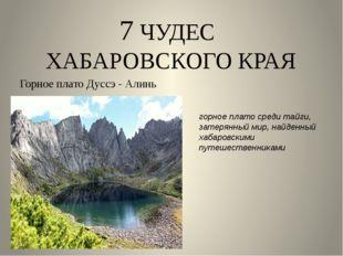 7 ЧУДЕС ХАБАРОВСКОГО КРАЯ Горное плато Дуссэ - Алинь горное плато среди тайги