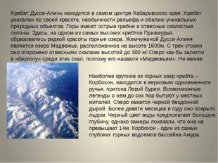 Хребет Дуссе-Алинь находится в самом центре Хабаровского края. Хребет уникале