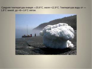 Средняя температура января —20,6°С, июля +12,9°С. Температура воды от —1,8°С