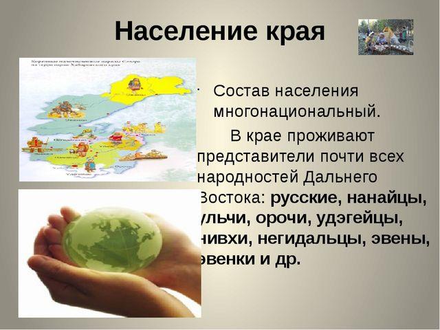 Население края Состав населения многонациональный. В крае проживают представи...
