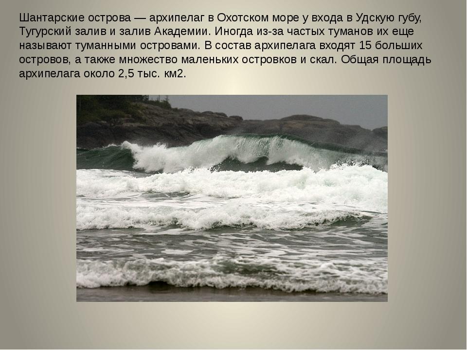 Шантарские острова — архипелаг в Охотском море у входа в Удскую губу, Тугурск...