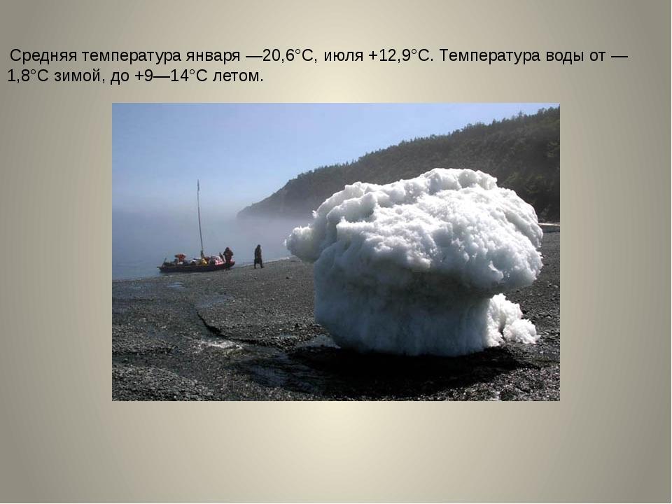 Средняя температура января —20,6°С, июля +12,9°С. Температура воды от —1,8°С...