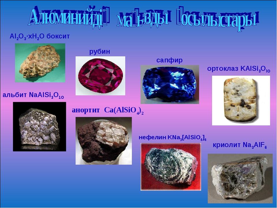 Аl2O3·хН2О боксит рубин сапфир ортоклаз KAlSi3OlO альбит NaAlSi3О1О анортит С...