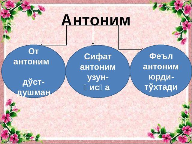 Антоним От антоним дўст-душман Сифат антоним узун-қисқа Феъл антоним юрди-тўх...