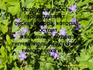 Особую ценность представляет окская флора, которая состоит из степных видов: