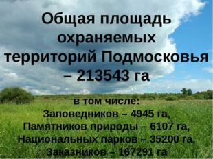 Общая площадь охраняемых территорий Подмосковья – 213543 га в том числе: Зап