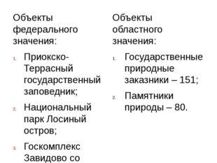 Объекты федерального значения: Приокско-Террасный государственный заповедник;
