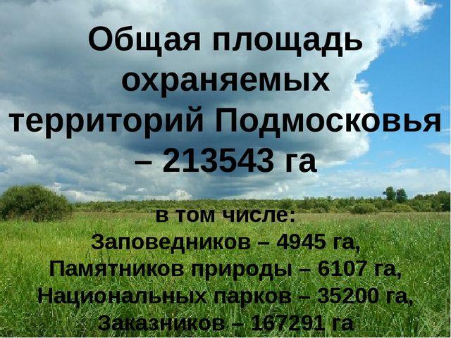 Общая площадь охраняемых территорий Подмосковья – 213543 га в том числе: Зап...