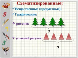 Схематизированные: Вещественные (предметные); Графические: рисунок условный р