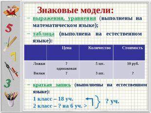 Знаковые модели: выражения, уравнения (выполнены на математическом языке); та