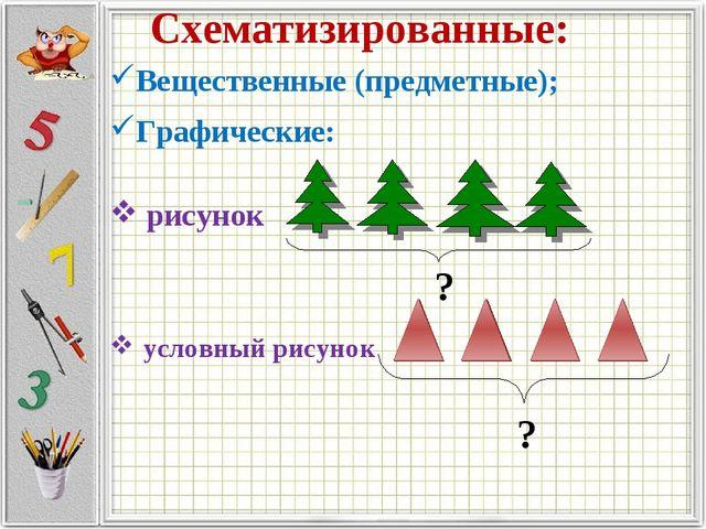 Схематизированные: Вещественные (предметные); Графические: рисунок условный р...