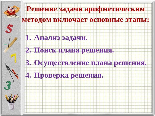 Решение задачи арифметическим методом включает основные этапы: Анализ задачи....