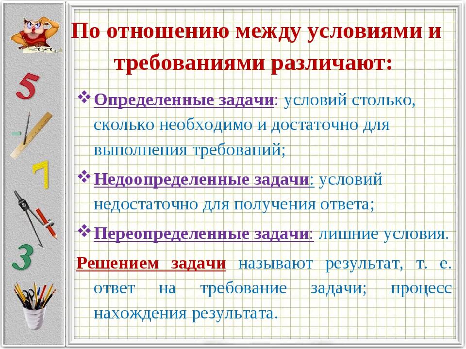 По отношению между условиями и требованиями различают: Определенные задачи: у...
