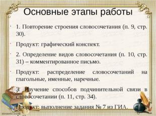 Основные этапы работы 1. Повторение строения словосочетания (п. 9, стр. 30).