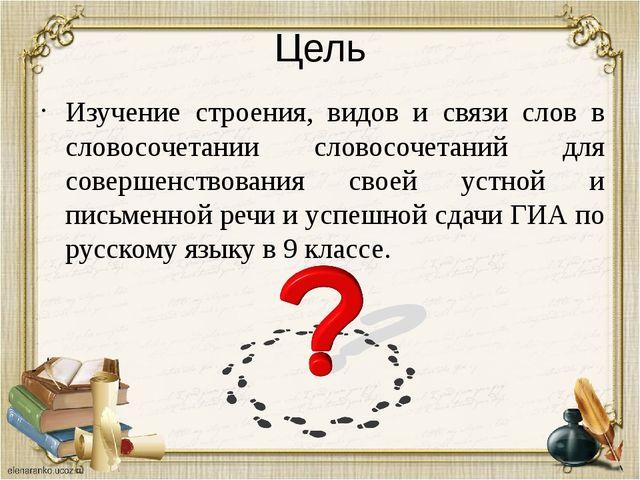 Цель Изучение строения, видов и связи слов в словосочетании словосочетаний дл...