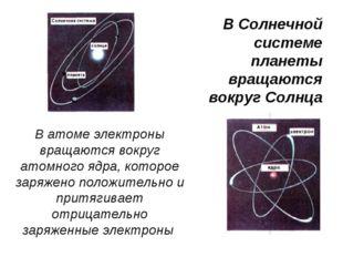В атоме электроны вращаются вокруг атомного ядра, которое заряжено положитель