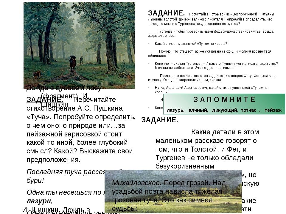 ЗАДАНИЕ. Перечитайте стихотворение А.С. Пушкина «Туча». Попробуйте определить...