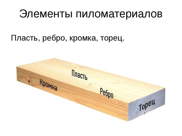Элементы пиломатериалов Пласть, ребро, кромка, торец.